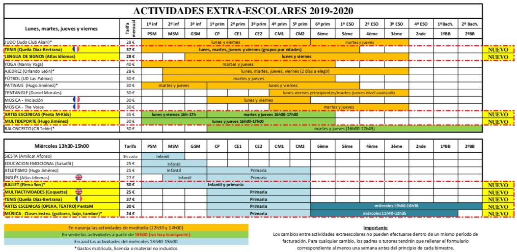 calendario-extra-escolares-19-20-lycee-gran-canaria