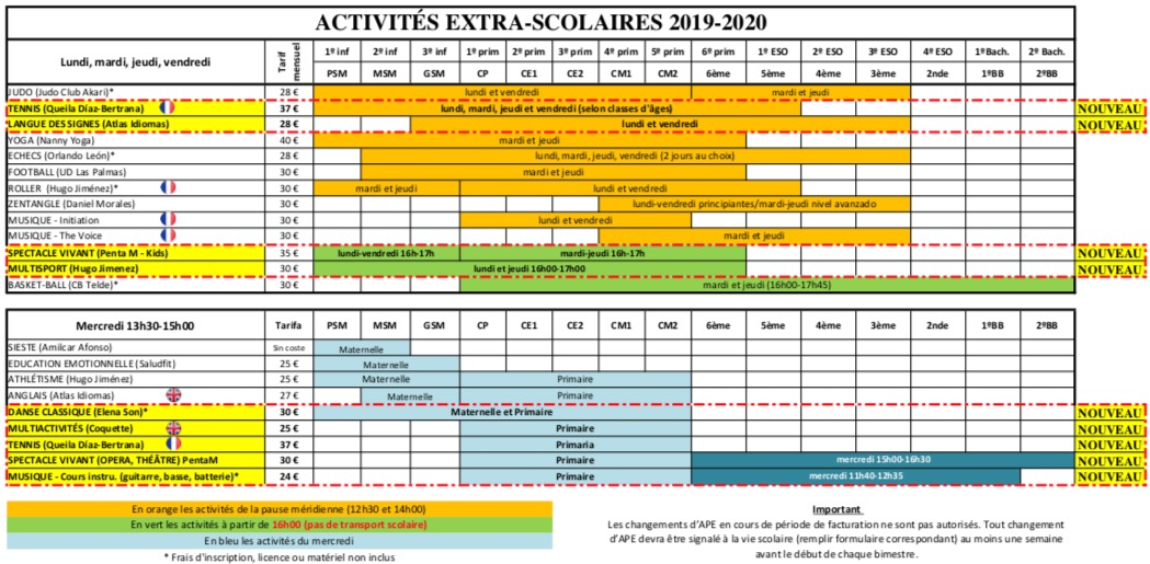 calendrier-19-20-extra-scolaires-lycee-gran-canaria